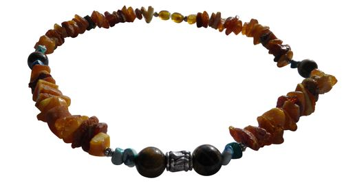 Amber necklace tiger eye 42cm