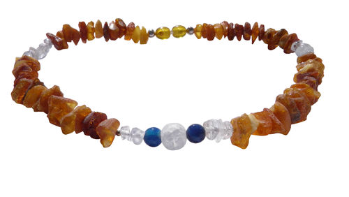 Amber crystal rock crystal & agate 35cm