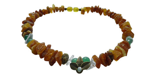 Amber necklace rock crystal & Aventurine 35cm