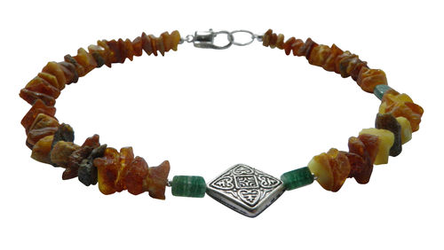Dog amber necklace Aventurine 40cm