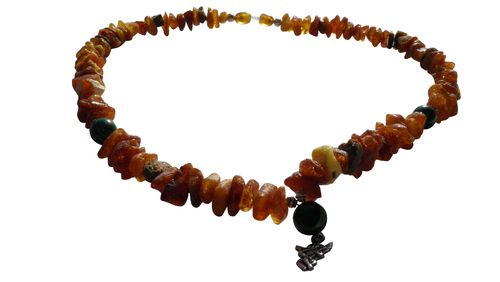 Amber necklace malachite angel 47cm