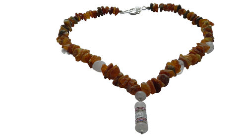 Dog amber necklace rose quartz 47cm