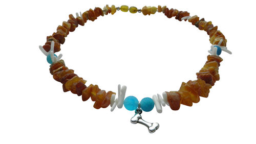 Dogs Amber necklace agate & coral 42cm