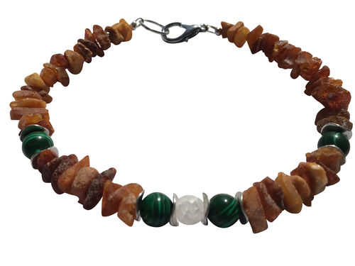 Amber necklace malachite & rock crystal 31cm