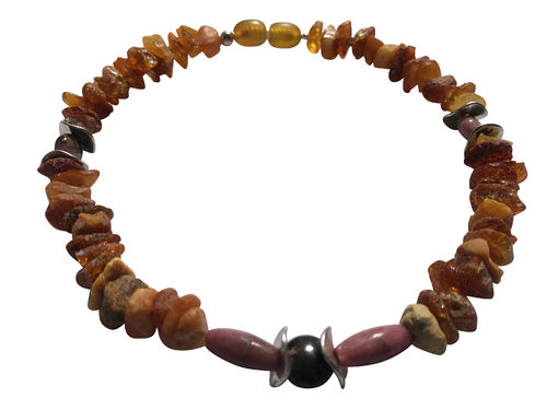 Amber necklace rhodonite 26cm