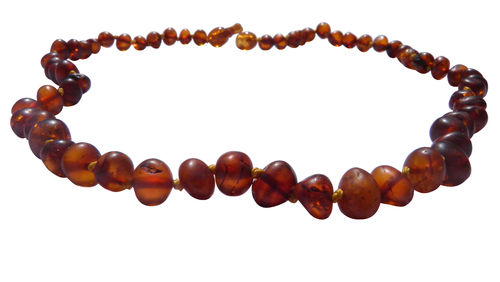Natural amber necklace baroque cognac