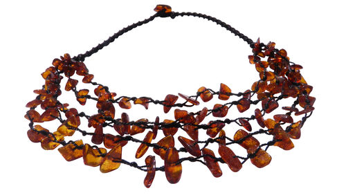 Weaving amber necklace