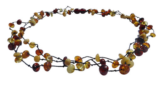 Amber necklace tears three rows