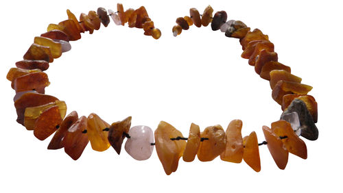 Natural amber necklace rose quartz